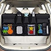 Rovtop Car Back Seat Organizer with 9 Pockets Backseat Organizer, Back Seat Storage Organizer for SUV Truck Van, Car Boot Tidy Organiser Magic Sticker for Space Saving Black