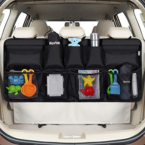 Rovtop Organizer Bagagliaio Auto, Borsa per Bagagliaio Auto,Organizer per Bagagliaio per SUV e MPV, 9 Tasche per Riporre Gadget Auto, Tenere la Auto in Ordine e Trasportare più Oggetti