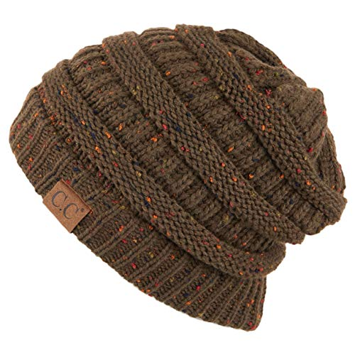 Hatsandscarf CC Exclusives Unisex Ribbed Confetti Knit Beanie (HAT-33) (New Olive)