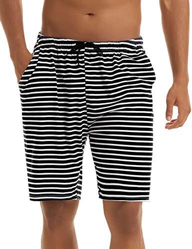 Irevial Pantalones Cortos de Pijama para Hombre Algodon, Raya Cintura elástica Ajustable pantalón Dormir de casa,Salón Shorts con Bolsillos Verano