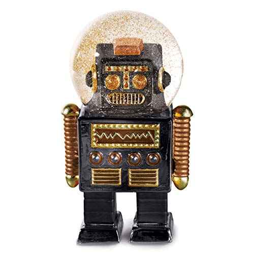 DONKEY Products Summerglobe The Robot, Schneekugel, Glitzerkugel, Dekoration, Glas, Polyresin, Schwarz, Golden, 13,5 cm, 330448