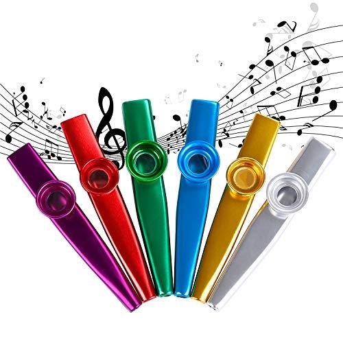 Kazoos Instrumento Musical Aleacion de Aluminio de Metal Coloridos Kazoo Buen Compañero para Guitarra Ukelele Violín 6 Piezas
