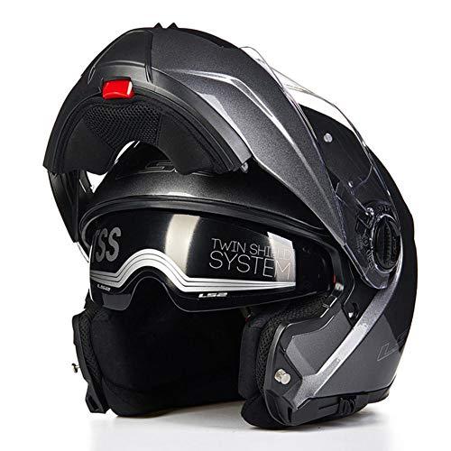 WUYEA Casque De Moto avec Lunettes Doubles Casques Intégraux Anti-Buée pour Hommes Et Femmes,Gray,XL