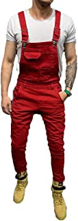 Bravoy Mens Casual Slim Fit Bib Overalls Romper Dungarees Long Trousers Suspender Pants Jeans Jumpsuits with Pockets
