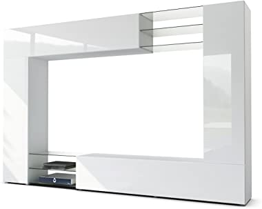 Vladon Combinaison Murale Mirage, Corps en Blanc Mat/Façades en Blanc Haute Brillance