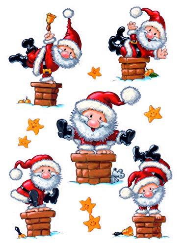 dpr. Fensterbild Set 9-TLG. Weihnachten Weihnachtsmann Nikolaus Sterne Fenstersticker Fensterdeko Weihnachtsdeko