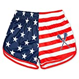 Girls Lacrosse Athletic Shorts | USA Flag Lax | Adult Small