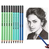 Professional Charcoal Pencils Drawing Set - 10 Pieces Soft Medium and Hard Charcoal Pencils for Drawing, Sketching, Shading, Artist Pencils for Beginners & Artists
