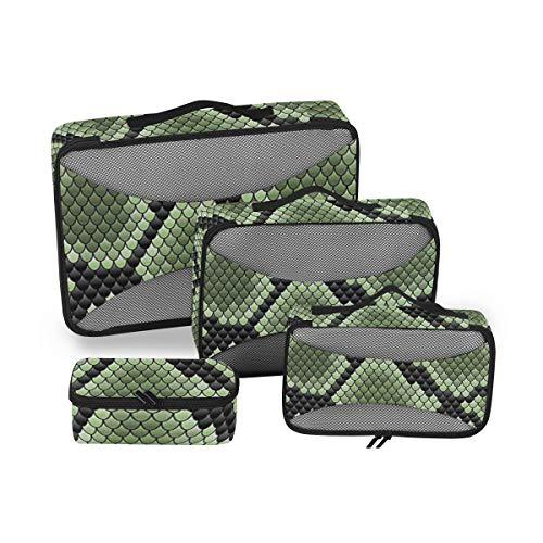 Geometric Snake 4pcs Large Travel Toiletry Bag for Women Big Wash Bags Hair Dryer Case Multi-Use Toiletries Kit Cosmetics Makeup Bathroom Organizer Suitcase Luggage