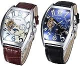 サン&ムーン自動巻き腕時計 四角フェイス 革ベルト シースルー設計 一日計 ブラック