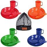 Bisgear - Vajilla de melamina para camping, 4 personas, ligera, alta calidad, incluye 4 platos, 4 cucharas y tenedor, 4 tazas y 4 cuencos, bolsa de red para cocina al aire libre, Negro
