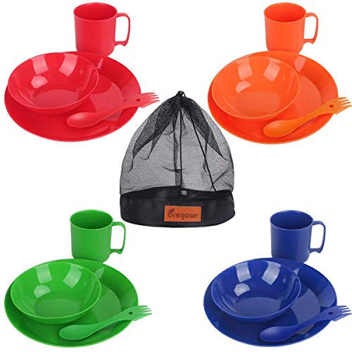 Bisgear Camping Mess Kit - 4 Person Lightweight Dinnerware Family Set with Plates Bowls Cups MugsSporks Mesh Bag - Perfect for Hiking & Backpacking, Picnic, Family Vacation (4 Person)