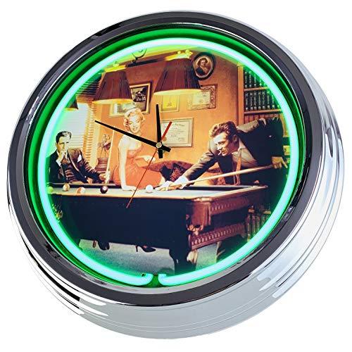Neon Uhr Billiard Wanduhr Deko-Uhr Leuchtuhr USA 50's Style Retro Neonuhr Esszimmer Küche Wohnzimmer Büro (Grün)