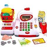 BUYGER Registratore di Cassa Supermercato Giocattoli Microfono Scanner Cibo Cassa Gioco d'imitazione Bambini 3 4 5 Anni