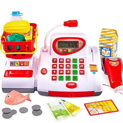 BUYGER Elektronische Groß Kasse Spielzeug mit Scanner Spielkasse Kinderkasse Kaufladen Zubehör Registrierkasse Supermarktkasse für Kinder ab 3 Jahre