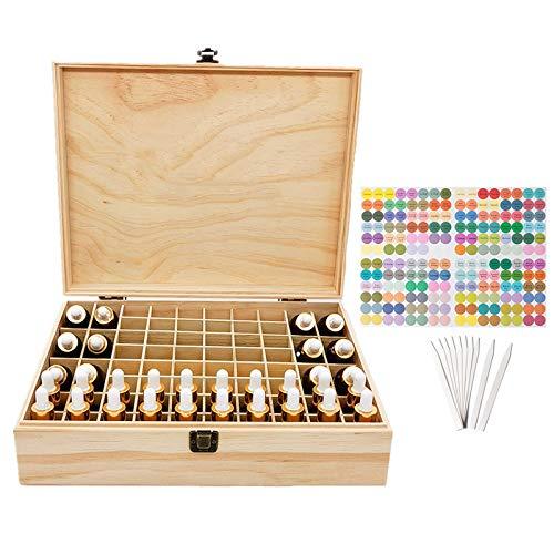 LEAMALLS 68 Ranuras Aceites Esenciales Caja, Organizador Almacenamiento ceite Esencial Aromaterapia CosméTica