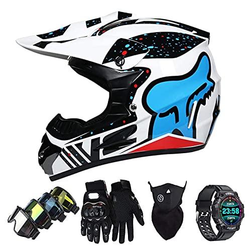 Casco Motocross Niño Set con Diseño FOX, Adulto y Juventud Integral Homologado Moto Cross Casco para Downhill ATV Enduro Off Road (Gafas+Máscara+Guantes+Reloj Inteligente) LXY-23