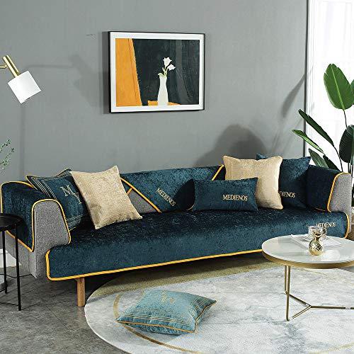 YUTJK Alfombra Bordada para Ventana salediza, Salón de sofá, Fundas de Asiento de sofá de Tela para Sala de Estar, Funda Protectora de Muebles, para Dormitorio, Verde Oscuro