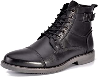 2019 Mens New Lace-up Flats Combat Boots for Men Lace Up High Top Shoes Motorcycle Low Heel Round Toe Waterproof Leather Buckle Decor Side Zipper Durable Leisure Comfortable Black