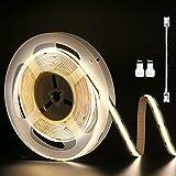 PAUTIX Luce di Striscia del LED COB bianco 4000K, 6M Super Bright CRI90 + nastro LED, DC24V per armadio, camera da letto con cavo di prolunga connettore 1 pz (alimentatore non incluso)