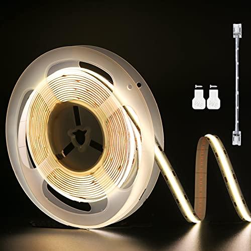 PAUTIX Tiras de luces LED COB blancas 4000K, 6M flexible impermeable CRI85+ Cinta de luz LED, DC24V iluminación de bricolaje con 1 cable de extensión de conector (fuente de alimentación no incluida)