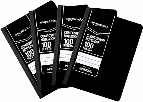 AmazonBasics Wide Ruled Composition Notebook, 100 Sheet, Solid Black, 36-Pack