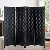 6ft. Tall- 16' Wide- Room Dividers Double Sided Woven Fiber ,Double Hinged Privacy Screen, Partition & Wall Divider, Folding Privacy Screens 4 Panel, Room Dividers-Black, Freestanding, 4 Panels