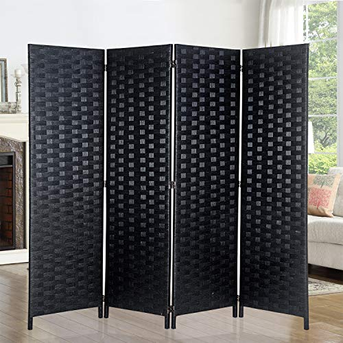 "6ft. Tall- 16"" Wide- Room Dividers Double Sided Woven Fiber ,Double Hinged Privacy Screen, Partition & Wall Divider, Folding Privacy Screens 4 Panel, Room Dividers-Black, Freestanding, 4 Panels"