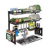 Abtropfgestell über der Spüle, 2-stöckiges Edelstahl-Abtropfgestell, Küchenorganizer über der Spüle, Regal mit Utensilienhalter, Haken für die Küche, Arbeitsplatte, schwarzer Organizer