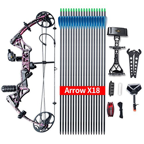 "Compound Bow Ship from USA Warehouse,Topoint Archery Package,M1,19""-30"" Draw Length,19-70Lbs Draw Weight,320fps IBO Limbs Made in USA (Muddy Girl)"