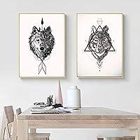 ネイティブインドオオカミリビングルームのキャンバス絵画アートポスターとプリントのモダンな装飾壁の写真家の装飾  40x60cmx2-(フレームなし)