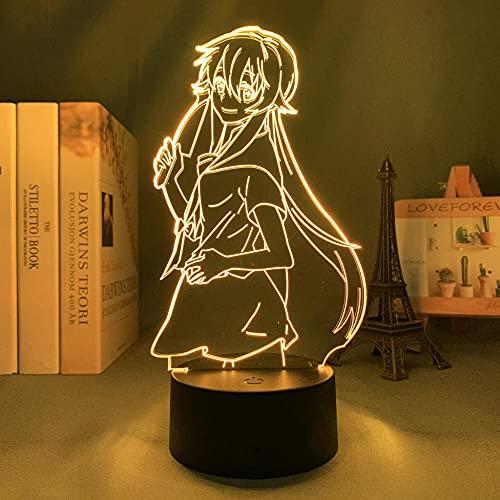 Lámpara De Ilusión 3D Luz De Noche LED Manga Food Wars Erina Habitación infantil Decoración de dormitorio Regalo de cumpleaños para niños Regalo de Navidad Mesita de noche Lámpara de mesa colorida