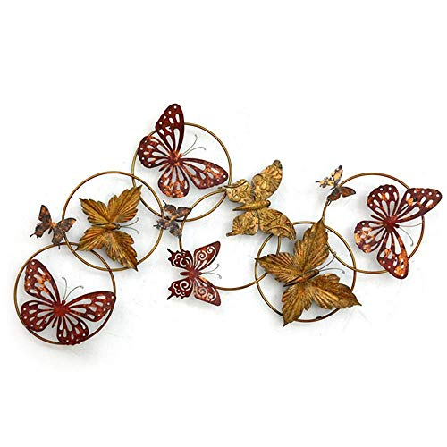 OH Ilustraciones Pared Del Metal Decoración de la Pared, 6 Círculos + 10 Mariposas Escultura de Arte, para Interiores Y Exteriores de Decoración de Jardín 112X61Cm Listo para Colgar