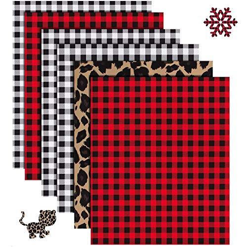 Christmas Buffalo Plaid Heat Transfer Vinyl - 6 Sheets 12' x 10'Red Black Buffalo Check Heat Transfer Vinyl-3 Assorted Colors for Iron on Fabrics T-Shirts(Buffalo Plaid,Black Plaid,Leopard Print )