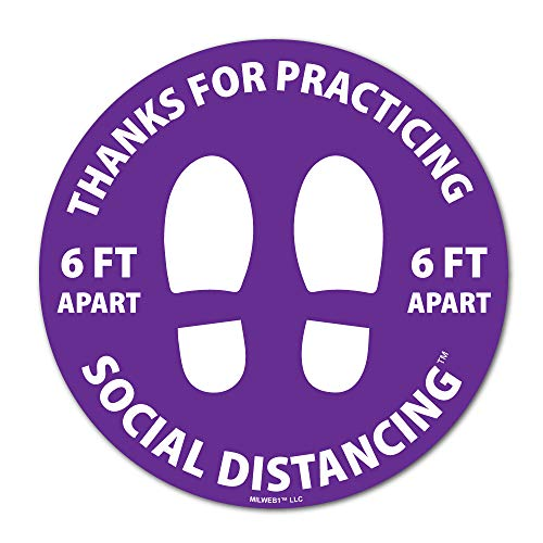 Milweb1-12' Round Thanks for Practicing Social Distancing Floor Decal - Floor Removable Sticker Graphic - Purple