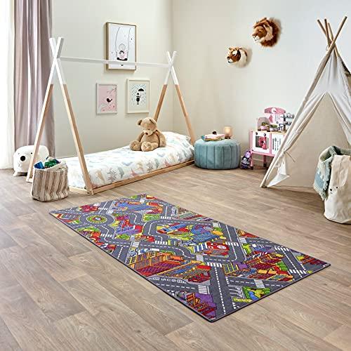 Carpet Studio Alfombra Carretera 95x200cm, Alfombra Infantil para Dormitorio & Cuarto de Jugar, Lavable a Máquina, Fácil de Limpiar, Anti-Deslizante - Big City