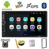 Autoradio 2 Din Android,Radio Voiture Bluetooth Navigation GPS,7 Pouces Voiture Lecteur Multimédia USB/SD/AUX Entrée,Radio FM,WiFi,avec Caméra Arrière
