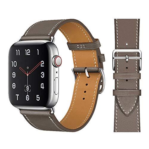 Correa de pulsera de bucle de cuero de vaca para Apple Watch 6 SE 5 4 42MM 38MM 44MM 40MM Correa para IWatch 6 5 4 Wristband-05 gris, para 42MM y 44MM