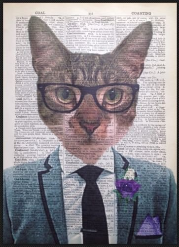 Parksmoonprints Page de dictionnaire vintage Motif chat tigré