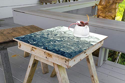 Wallario Aufkleber Selbstklebende Garten-Tisch-Decke - Leuchtendes EIS in blau-grau in 80 x 80 cm
