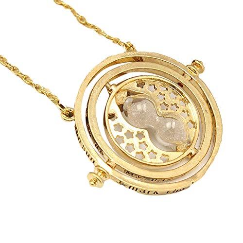 ModaRotating Reloj de arena colgante de aleación collar de color dorado regalos para las niñas de la mujer