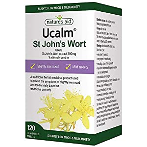 Natures Aid Ucalm St John's Wort, Relief of Symptoms of Slightly Low Mood and Mild Anxiety, Vegan, 120 Tablets