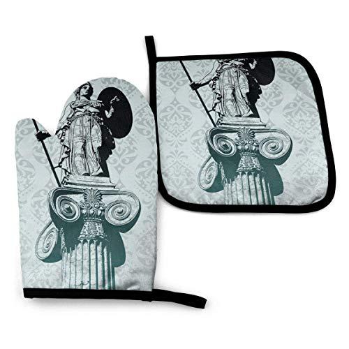 LOVE GIRL Antike Griechenland Statue von Athena Ofenhandschuhen und Topflappen setzt hitzebeständige Küchenofenhandschuhe Topflappen zum Kochen Backen Grill