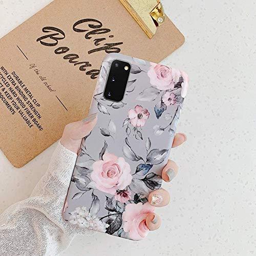 Uposao Kompatibel mit Samsung Galaxy S20 Hülle Crystal Case Schutzhülle mit Muster Motiv Blumen Blätter Weiche TPU Silikon Slim Stoßfest Ultra Dünn Handyhülle Backcover Tasche,Grau Blume
