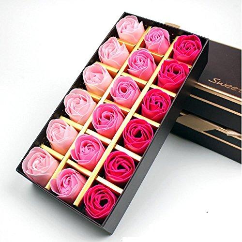 Jzhen 18 Pezzi Profumato Fiori del Sapone Rose,Fiore del Sapone Creativo Regalo per la Festa di Compleanno San Valentino(Rosa)