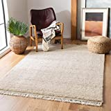 Safavieh Casablanca Shag Collection CSB521B Handmade Fringe Wool 0.8-inch Thick Area Rug, 8' x 10', Beige