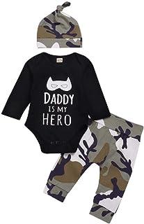 Ropa Bebe Nino Recien Nacido Otoño Invierno Daddy IS MY Hero Infantil Body Bebe Niña Manga Larga Camisetas Bebé Mono Mameluco + Camuflaje Pantalones + Sombrero