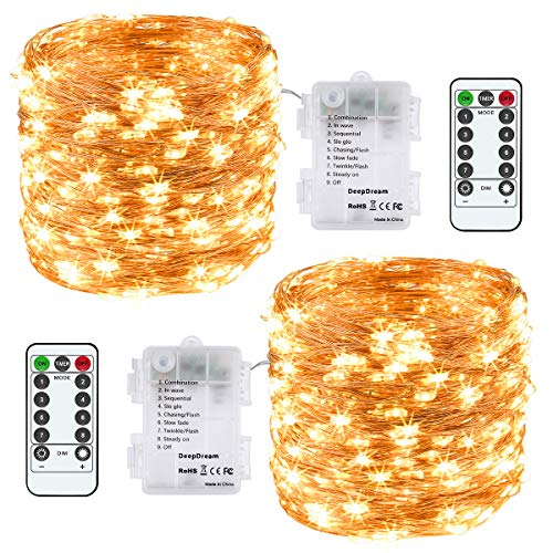 LED Lichterkette Batterie [2 Pack], 12M 120 LED Micro Lichterkette 8 Modi Kupferdraht Wasserdichte IP65 mit Timer Innen/Außen für Zimmer Party Weihnachten Halloween Hochzeit (Warmweiß)