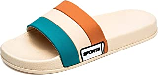 XinQuan Wang Leisure Sandals for Men Shower Slippers Indoor Slides Slip On Open Toe PU Leather Anti-Slip Wear Resistant (Color : Orange, Size : 5.5 UK)