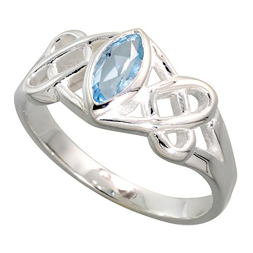 Sterling Silver Celtic Motherhood Knot Ring with Natural Blue Topaz 3/8 inch Wide, Size 10